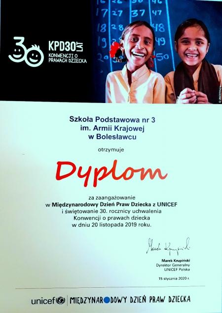 Dyplom dla szkoły za udział w Międzynarodowym Dniu Praw Dziecka z UNICEF