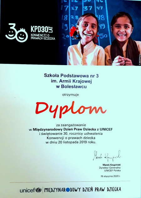 Dyplom dla szkoły  za zaangażowanie w Międzynarodowy Dzień Praw Dziecka z UNICEF