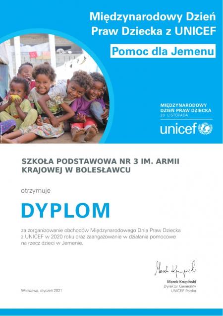 Dyplom UNICEF dla szkołyza udział w Międzynarodowym Dniu Praw Dziecka