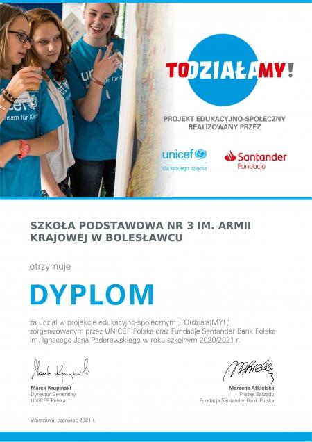 Podziękowania UNICEF-u i Fundacji Santander Bank Polska dla szkoły